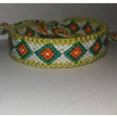 Passion-bracelet - Bracelet brésilien diamant orange vert blanc bordure verte - Bracelet - Coton