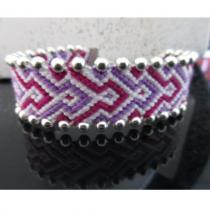 Passion-bracelet - Bracelet brésilien flèche fuchsia violet coupé de blanc - Bracelet -