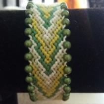 Passion-bracelet - Bracelet brésilien flèche nuance de vert avec bordure de perle magique verte - Bracelet - Coton