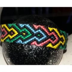 Passion-bracelet - Bracelet brésilien jaune vert rose bleu encadrer de noir - Bracelet - Coton