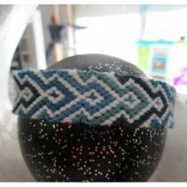 Passion-bracelet - Bracelet brésilien nuance de bleu coupé blanc - Bracelet - Coton