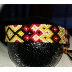 Passion-bracelet - Bracelet brésilien rouge jaune blanc noir - Bracelet - Coton