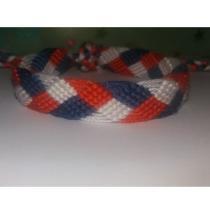 Passion-bracelet - Bracelet brésilien tresse bleu blanc rouge - Bracelet - Coton