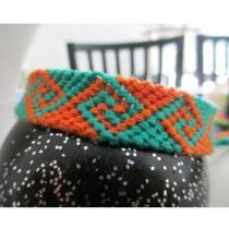 Passion-bracelet - Bracelet brésilien vague vert orange - Bracelet - Coton