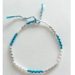 Passion-bracelet - Bracelet cheville spirale bleu blanc gris - Bracelet - Coton