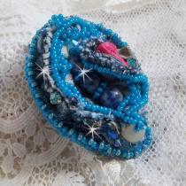 Patricia Wagner Créations - Bague Far West  brodée avec du Tissu Blue-Jean et des pierres semi-précieuses - Bague - Tissu