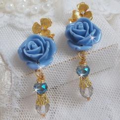Patricia Wagner Créations - BO Bell'issim Rose Bleu Barbeau avec des Cristaux de Swarovski et du cristal de Bohême - Boucles d'oreille - Laiton