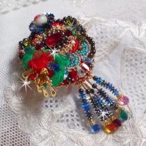 Patricia Wagner Créations - Broche Mia Haute-Couture avec les couleurs tendance et les perles de qualité - Broche