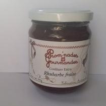 Prom'nades Gourmandes - Confiture de rhubarbe et fraise - Confiture - 240gr
