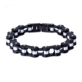 Roadstrap - Bracelet Black & Silver en chaîne de transmission pour les attaché(e)s de Moto / Vélo - Bracelet - Acier