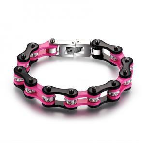 Roadstrap - Bracelet Femme Noir & rose en chaîne de transmission pour les attaché(e)s de Moto / Vélo - Bracelet - Acier