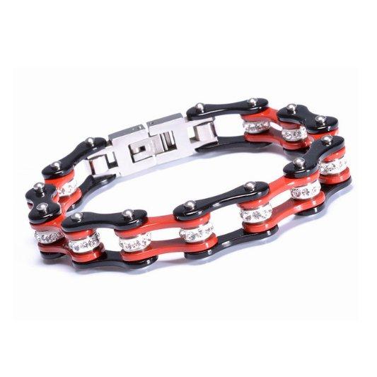 Roadstrap - Bracelet Femme Noir & rouge en chaîne de transmission pour les attaché(e)s de Moto / Vélo - Bracelet - Acier