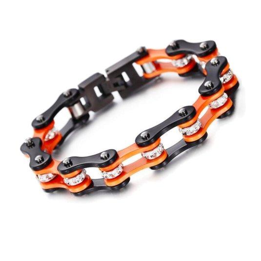 Roadstrap - Bracelet Femme Orange en chaîne de distribution pour les attaché(e)s de Moto / Vélo - Bracelet - Acier