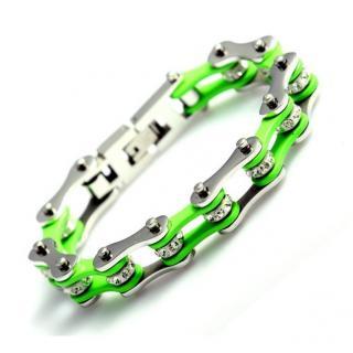 Roadstrap - Bracelet Femme Vert en chaîne de distribution pour les attaché(e)s de Moto / Vélo - Bracelet - Acier
