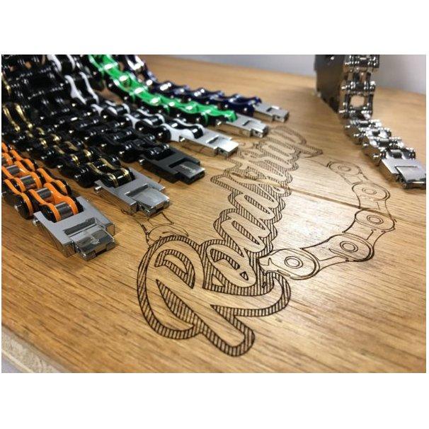 Roadstrap - Bracelet Man Black & White en chaîne de transmission pour les attaché(e)s de moto / Vélo - Bracelet - Acier