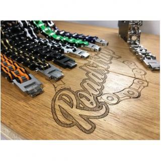 Roadstrap - Bracelet Man Green en chaîne de transmission pour les attaché(e)s de moto / Vélo - Bracelet - Acier