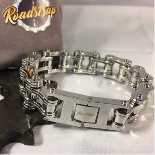 Roadstrap - Bracelet Man Silver en chaîne de transmission pour les attaché(e)s de Moto / Vélo - Bracelet - Acier