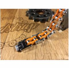 Roadstrap - Bracelet Man Silver & orange en chaîne de transmission pour les attaché(e)s de moto / Vélo - Bracelet - Acier