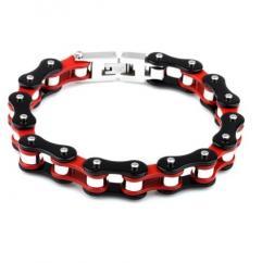 Roadstrap - Bracelet Mixte rouge en chaîne de transmission pour les attaché(e)s de moto / Vélo - Bracelet - Acier