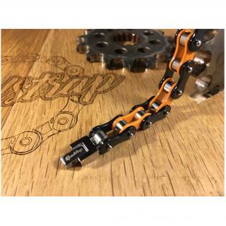Roadstrap - Bracelet orange en chaîne de transmission pour les attaché(e)s de Moto / Vélo - Bracelet - Acier