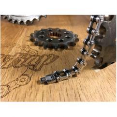 Roadstrap - Bracelet très léger Silver & Black en chaîne de transmission pour les Passionné(e)s de Moto & Vélo - Bracelet - Acier