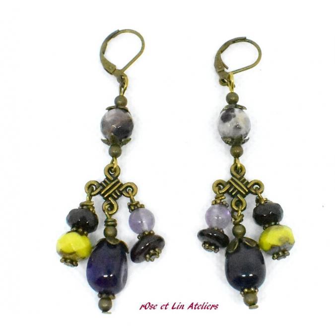 """ROse et Lin Ateliers - Boucles chandelier """"Violetta"""" - Boucles d'oreille - Verre"""