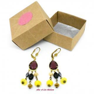ROse et Lin Ateliers - Boucles Gouttes Violettes - Boucles d'oreille - Verre