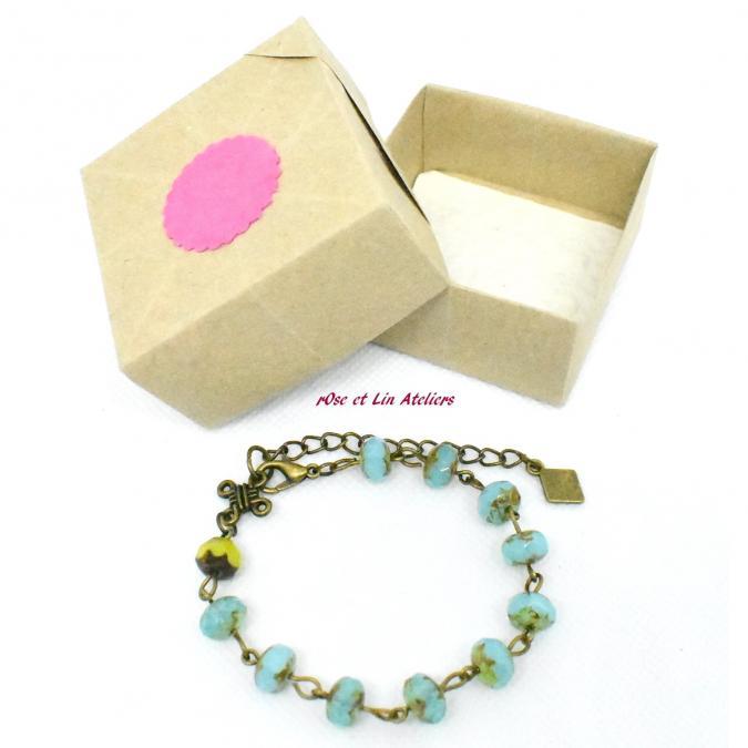 ROse et Lin Ateliers - Bracelet rétro bleu lagon - Bracelet - Verre
