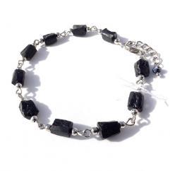 Sabrina LABADO - Bracelet acier inoxydable et tourmaline noire brute - Bracelet - Acier
