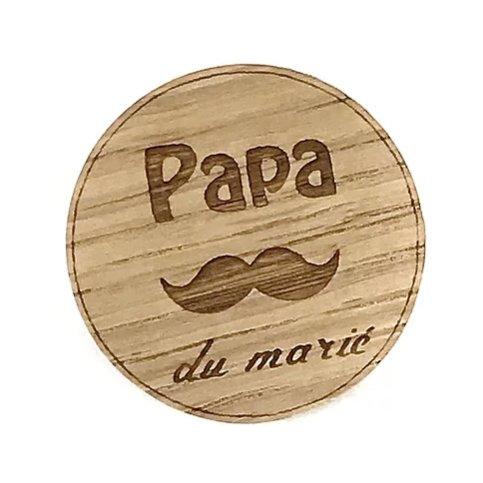 Sacdenoeud - Badge en bois Papa du marié - Badge mariage