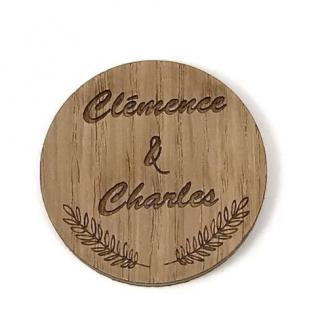 Sacdenoeud - Badge en bois personnalisable (serie identique) - Badge mariage