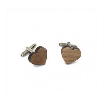 Sacdenoeud - Boutons de Manchette bois forme Coeur - Bouton de manchette