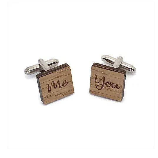 Sacdenoeud - Boutons de manchette en bois, forme carré, You Me - Bouton de manchette