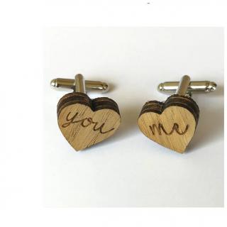 Sacdenoeud - Boutons de manchette en bois, forme coeur, You Me - Bouton de manchette