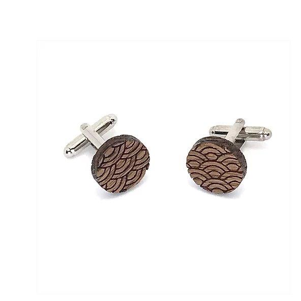 Sacdenoeud - Boutons de manchette en bois motif japonais - Bouton de manchette