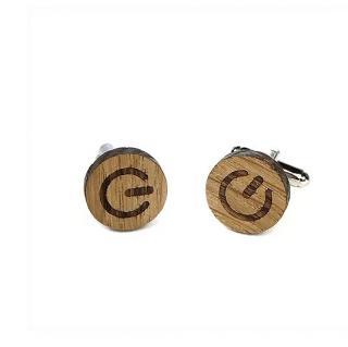 Sacdenoeud - Boutons de manchette en bois motif On / Off - Start - Bouton de manchette