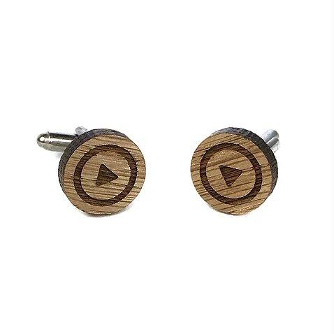 Sacdenoeud - Boutons de manchette en bois motif Play - Bouton de manchette