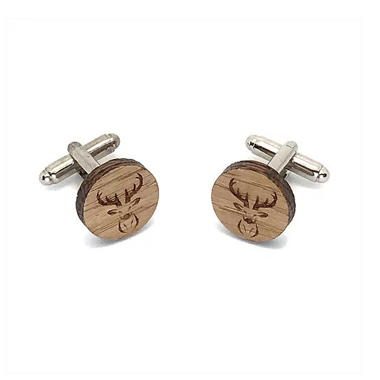 Sacdenoeud - Boutons de manchette en bois motif tete de Cerf - Bouton de manchette