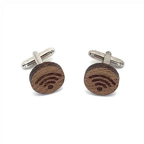 Sacdenoeud - Boutons de manchette en bois motif wifi - Bouton de manchette
