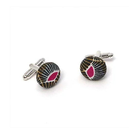 Sacdenoeud - Boutons de manchette en tissu style africain gris et rose - Bouton de manchette