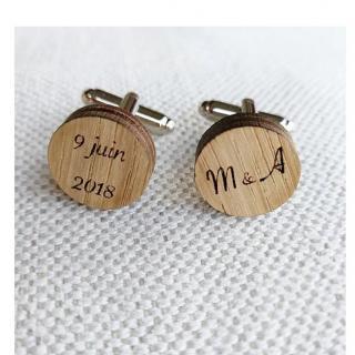 Sacdenoeud - Boutons de Manchette Mariage personnalisés, en bois - Bouton de manchette