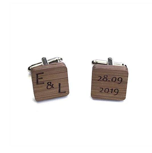 Sacdenoeud - Boutons de Manchette personnalisés bois carrés Mariage initiales + date - Bouton de manchette