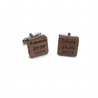 Sacdenoeud - Boutons de Manchette personnalisés bois carrés Mariage prenom date - Bouton de manchette