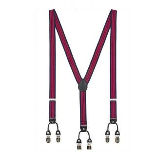 Sacdenoeud - Bretelles - rayures marine et rouge - dos cuir - 25mm - Bretelles