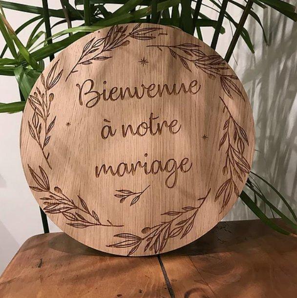 Sacdenoeud - Enseigne de Bienvenue Mariage Personnalisée Couronne de Feuilles 40 cm - Enseigne mariage