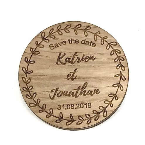 Sacdenoeud - Magnet en bois Save The Date personnalisable (serie identique) - Magnet mariage