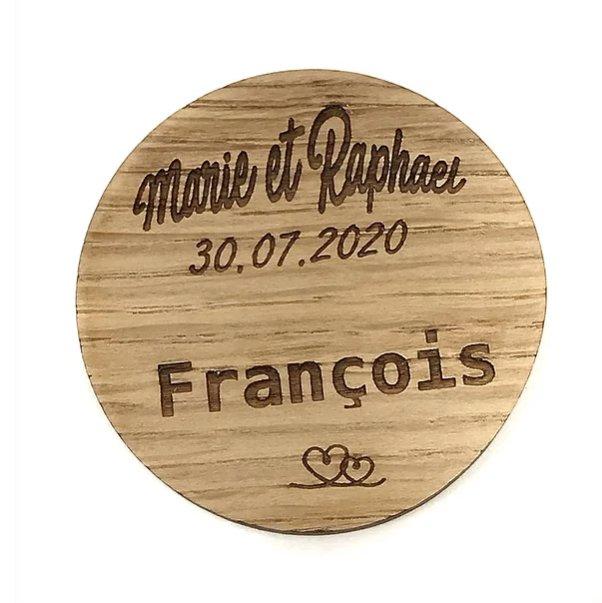 Sacdenoeud - Marque place en bois prenoms personnalisables - Marque place mariage