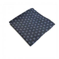 Sacdenoeud - Pochette de costume tissu coton japonais saki motif asanoha bleu - Pochette de costume