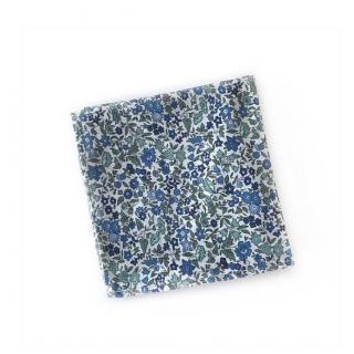 Sacdenoeud - Pochette de costume tissu liberty bleu - Pochette de costume