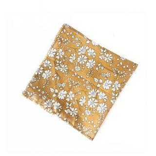 Sacdenoeud - Pochette de costume tissu-liberty capel moutarde - Pochette de costume